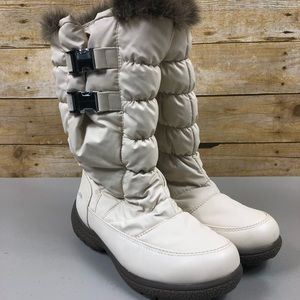 Totes Cream Quilted FurLined Weatherproof Boot7.5M